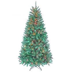 Kurt Adler Pre-Lit Point Pine Tree, 7-Feet, Multicolor