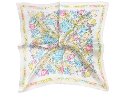 TONY & CANDICE Women's Graphic Print 100% Silk Square Scarf 20X20 Inches (White Flower Print)