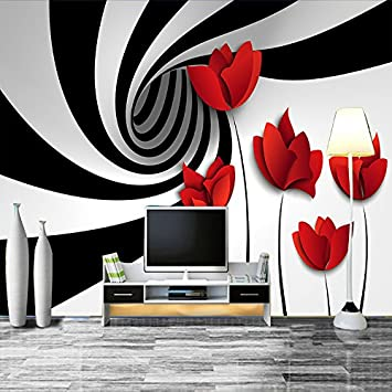 Papell Custom Mural Wall Paper Black And White Striped Flowers
