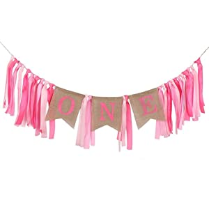 Jefferson 1st Birthday ONE High Chair Banner for Boys Girls First Birthday Decorations Burlap Birthday Banner (Pink)