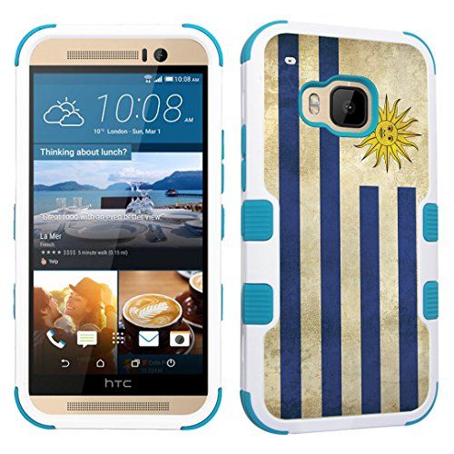 DuroCase HTC One M9 (Released in 2015) Fashion Case White & Mint - (Uruguay Flag) (Mint Uruguay)