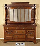 Antique English Solid Walnut Mirrorback Sideboard Buffet Server