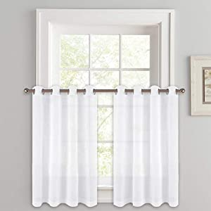 "PONY DANCE Kitchen Curtains 36"" - Sheers Linen Look Voile Drapes Privacy Protect Light Filter Grommet Valance Tiers Elegant for Small Window Bathroom, 52"" W x 36"" L, White, Pack-2"