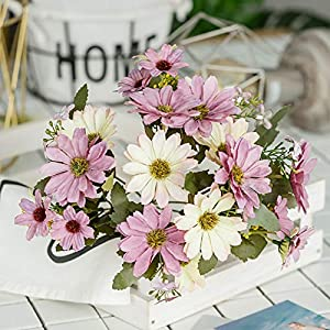 ywbtuechars Handmade Artificial Flower Fake Daisy Gerbera Artificial Flower Bud Cloth Flower Small Daisy Flower Home Living Room Table Vase Decoration Flower 1Pc 9 Branches 6