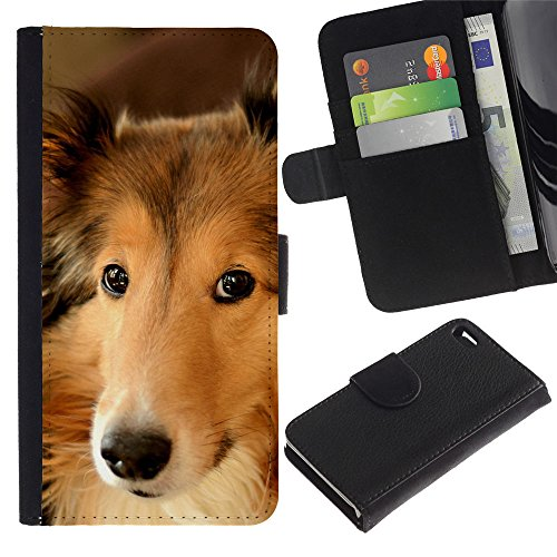 OMEGA Case / Apple Iphone 4 / 4S / border collie smart dog canine pet / Cuir PU Portefeuille Coverture Shell Armure Coque Coq Cas Etui Housse Case Cover Wallet Credit Card
