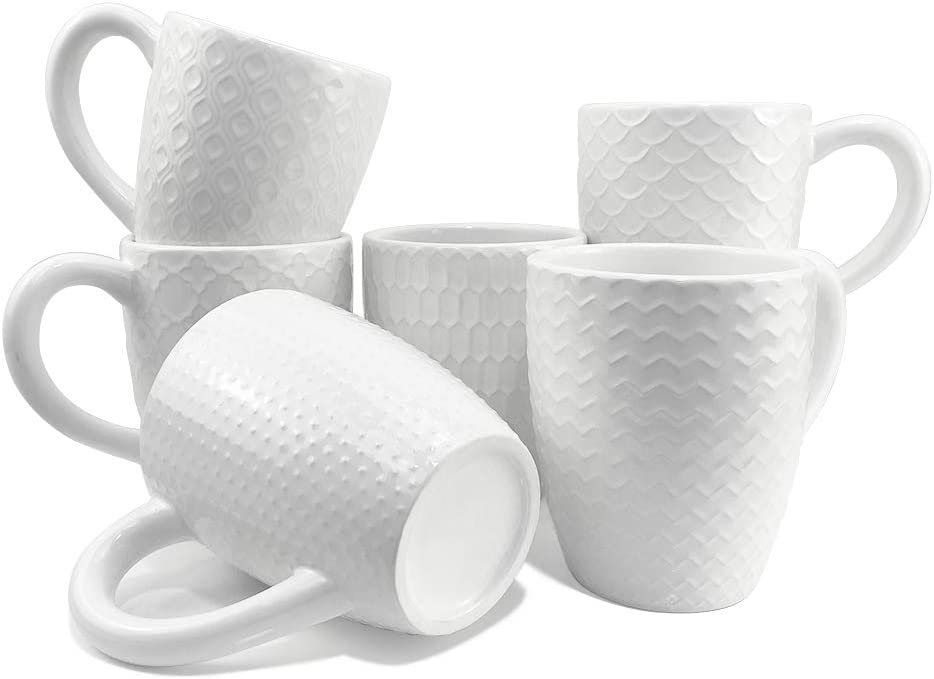 Schliersee White Ceramic Coffee Mugs set of 6, Stylish Embossed Coffee Cups Set with Different Patterns, for Coffee, Tea, Milk, Cocoa, Cereal (13.5 Ounce)