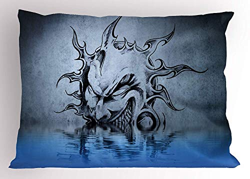(K0k2t0 Tattoo Pillow Sham, Sun with Poker Sinister Face Character Fictional Evil Reflection on The Water World, Decorative Standard Queen Size Printed Pillowcase, 30 X 20 inches, Blue)