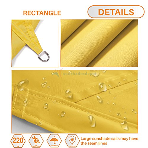 Sunshades Depot 10 x 10 Square Waterproof Knitted Shade Sail Curved Edge Yellow 220 GSM UV Block Shade Fabric Pergola Carport Canopy Replacement Awning Customize Available
