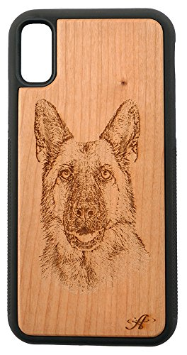 - iPhone X and 2018 iPhone Xs Compatible Laser Engraved Cherry Wood Cell Phone Case - from Photo of German Shepherd