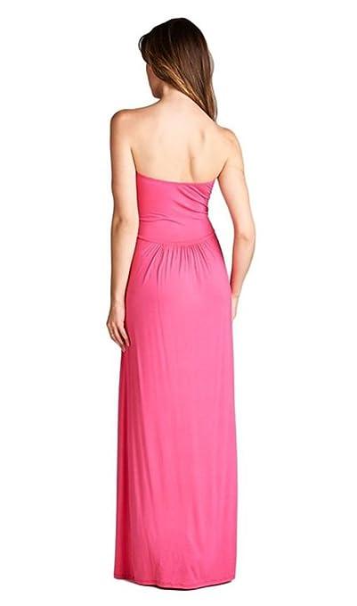 e013c34752af4 NioBe Women's Strapless Empire Waist Maxi Dress with Pockets (Fuchsia) at  Amazon Women's Clothing store: