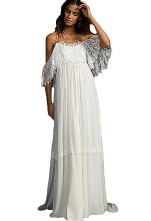 a3e7221af2 WDH Dress Women's Spaghetti Straps Beach Bohemian Wedding Dress ...