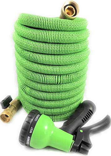 50 Ft Premium Expandable Garden Hose, 3/4″ Solid Brass Fittings, Double Durable Latex Core, Extra Strenght Fabric – Flexible Expanding Water Hose