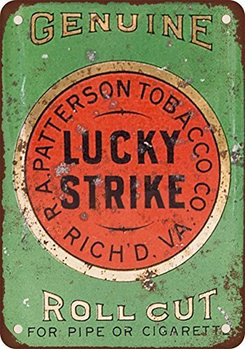 Lucky Strike Pipe and Cigarette Roll Cut Tobacco Vintage Look Reproduction Metal Tin Sign 12X18 Inches