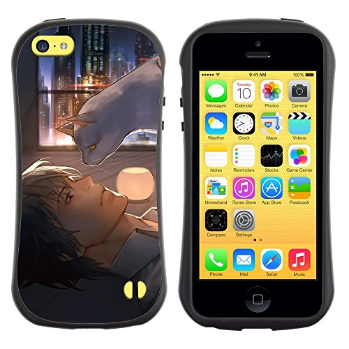All-Round Hybrid Rubber Case Hard Cover Protective Accessory Gerneration-I Compatible with Apple iPhone 5C - art naked cat psycho pass