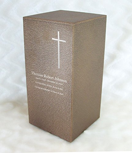 Personalized Engraved Cross Cremation Urn for Human Ashes -Made in America- Handcrafted in The USA by Amaranthine Urns, Adult Funeral Urn -Eaton DL- (up to 200 lbs Living Weight) (Cast Bronze)