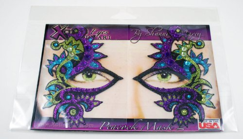 Xotic Eyes Peacock Mask Glitter Professional Eye Make up Costume Accessory (Peacock Eye Mask)