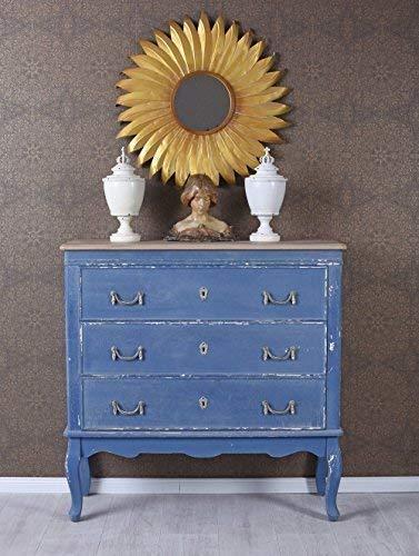 Französische Kommode Rokoko Anrichte Blau Schubladenschrank Sideboard Antik