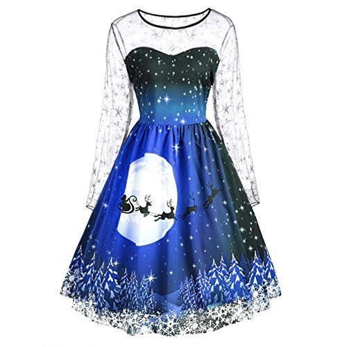 kaifongfu Women Long Sleeve Dress Mesh Merry Christmas Dress for Evening Party (Blue,XXXL -
