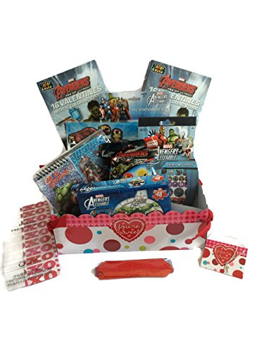 Boys Avengers Valentines Day Gift Basket With Valentines Cards Bundle: 10 Items: Avengers Puzzle, Valentines, Figurine, Sticker & More! (Valentine's Day Gift Baskets For Kids)