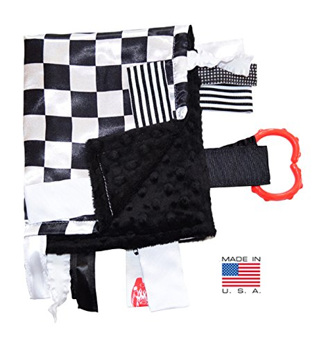 Nascar Gift Tags (Sensory Baby Tag Blanket, Racing Checkered Flag Lovey for Any Nascar Fan, 14