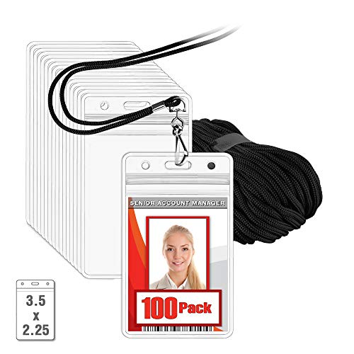 MIFFLIN Lanyard with Vertical ID Name Holder (Black Cord, Clear 3.5x2.25 Inch Card Holder, 100 Pack)