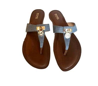 5c766da0f4c Image Unavailable. Image not available for. Color  Michael Kors Hamilton  Flat Leather Sandals ...