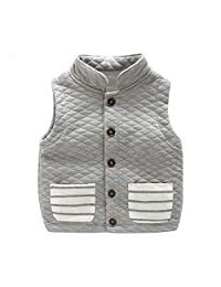 UWESPRING Kids Boys Turtleneck Stripe Vest Coat Casual Waistcoat
