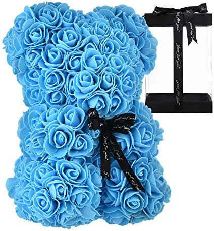 Rose Teddy Bear Fully Assembled Rose Bear - Over 250 Dozen Artificial Flowers - Valentines Day,Gift for Mothers Day, Anniversary & Bridal Showers - 10 inch Clear Gift Box (Blue)