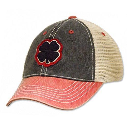 Black Clover Brand Two Tone Vintage #4 Black/Stone/Red Hat ()