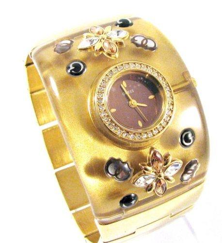 Studded Cuff Watch (GUESS GOLD ACRYLIC/ STAINLESS STEEL STUDDED CUFF BAND WATCH W16551L1)