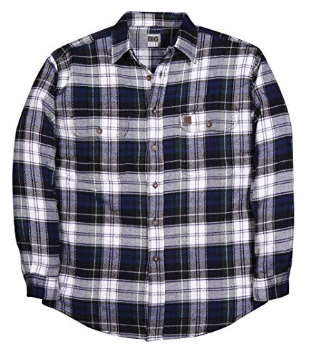 Big and Tall Heavy Duty Brawny Premium Flannel Shirts in Buffalo Plaid USA Made to 5X-Tall (White Navy Green Tartan Plaid, Large Tall) ()