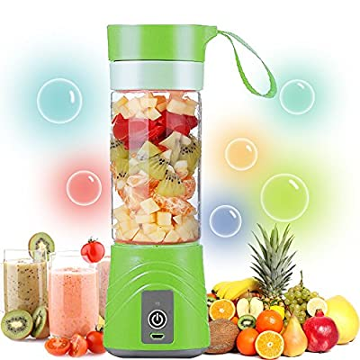 ZALALY USB Juicer Cup-Portable Rechargeable Blender and Mixer Personal Size Electric Fruit Mixing Machine,Mini Smoothie Maker,Water Bottle 380ML(Green)