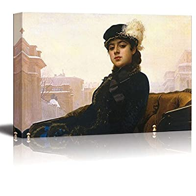 Portrait of an Unknown Woman by Ivan Kramskoy Famous Fine Art Reproduction World Famous Painting Replica on ped Print Wood Framed - Canvas Art Wall Art - 16