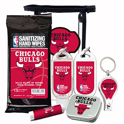 - NBA 6-Piece Fan Kits with Decorative Mint Tin, Nail Clippers, Hand Sanitizer, SPF 15 Lip Balm, Hand Lotion, Sanitizer Wipes. Chicago Bulls Gifts for Men and Women.
