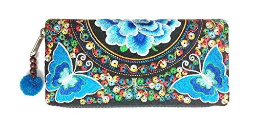 Wallet by WP Embroidery Butterfly Flower Zipper Wallet Purse Clutch Bag Handbag Iphone Case Handmade for Women, Blue with Multicolors Wallet