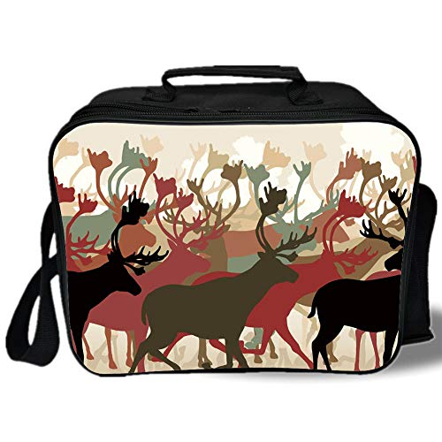 (Insulated Lunch Bag,Antler Decor,Reindeer Caribou Herd Migrating Colorful Silhouettes Wildlife Nature Theme Decorative,Multicolor,for Work/School/Picnic, Grey)