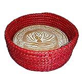 Handwoven Bread Roll Basket w Lotus Terracotta Warming Tile Stone 11 Inch Width (Red)