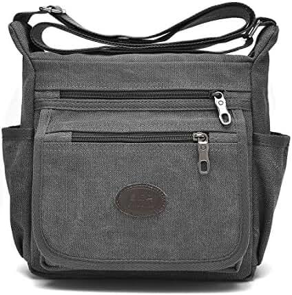 Qflmy Vintage Retro Canvas Messenger Bag Crossbody Shoulder Bag