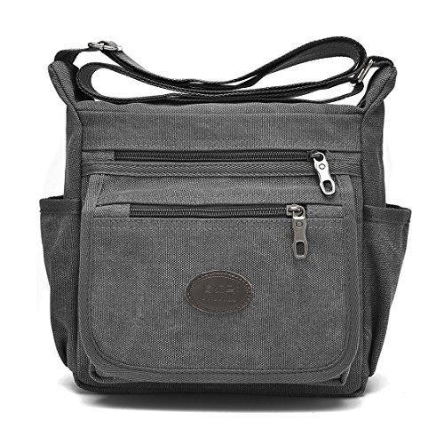 Qflmy Vintage Retro Canvas Messenger Bag Crossbody Shoulder Bag (Grey) (Difference Between The Ipad Mini 3 And 4)