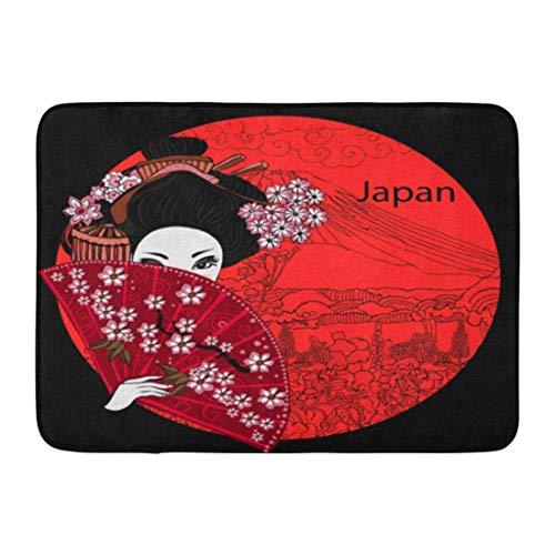 (Doormats Bath Rugs Outdoor/Indoor Door Mat Japan Geisha Japanese Woman Kimono Asian Beautiful Billboard Black Bathroom Decor Rug 30x18 Inch)