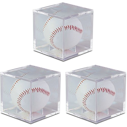 - BCW UV Protected Square Ball Holder Display Case Baseball by (3-Pack)