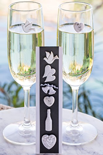 - Wedding Wine Charms - Magnetic Stemless Glass Markers - Set of 6 by Simply Charmed
