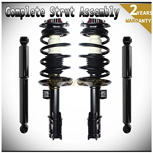 WIN-2X New 4pcs Front Left & Right Side Quick Complete Suspension Shock Struts & Coil Springs Assembly + Rear Struts Absorbers Kit Fit 04-07 Chevy Malibu 08 Classic Only (Rear Spring 04)