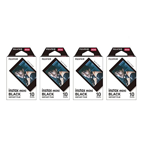 Fujifilm Instax Mini Instant Film BLACK FRAME 4-PACK BUNDLE SET , Film Black Frame ( 10 x 4 ) for Mini 90 8 70 7s 50s 25 300 Camera SP-1 Printer
