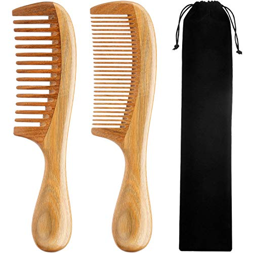 TecUnite 2 Pieces Hair Combs, Wide Tooth Hair Comb and Fine Tooth Hair Brush, Green Sandalwood Buffalo Horn Combs for Women, Men and Girls (Wood Color)