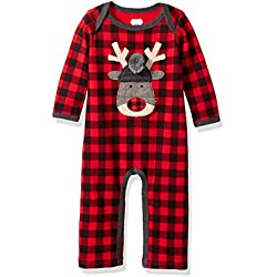 Mud Pie Baby Boys' Christmas Buffalo Check Long Sleeve One Piece Playwear, Reindeer Check, 9-12 MOS