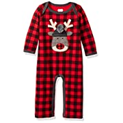 Mud Pie Baby Boys' Christmas Buffalo Check Long Sleeve One Piece Playwear, Reindeer Check, 3-6 MOS