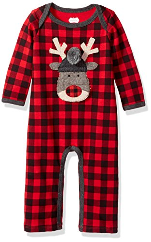 Mud Pie Reindeer (Mud Pie Baby Boys' Christmas Buffalo Check Long Sleeve One Piece Playwear, Reindeer Check, 3-6 MOS)