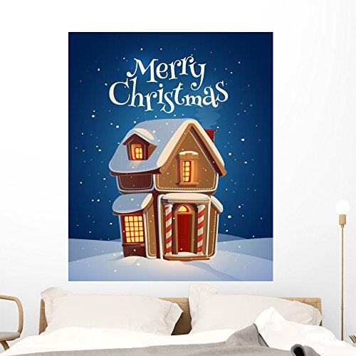 Wallmonkeys Gingerbread House Christmas Card Wall Mural Peel and Stick Holiday Graphics (48 in H x 39 in W) (Sweet Greetings Gingerbread)