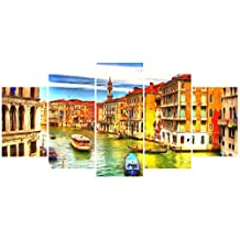 [Medium] Premium Quality Canvas Printed Wall Art Poster 5 Pieces / 5 Pannel Wall Decor City Venice Painting, Home Decor Pictures - With Wooden Frame